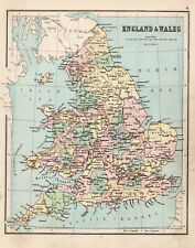 Antique Map Of England & Wales Great Britain 1888