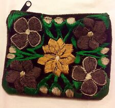 Coin Purse Bag Green Velvet Guatemalan Brown embroidery Floral Card Holder Hippy