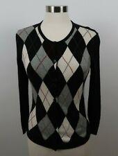 Talbots Womens Silk Cashmere LS Black Gray Argyle Cardigan Sweater Petite Small