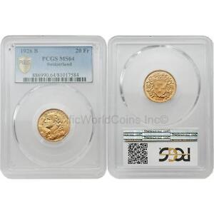 Switzerland 1926 B 20 Francs Gold PCGS MS64
