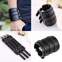Einstellbare Männer Punk Echtes Ledergürtel-Armband Armreif Wide Bracelet Black
