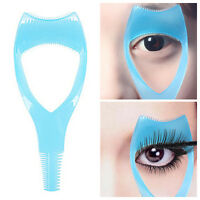 3 in1 Blue Eyelash Tool Makeup Mascara Shield Guard Curler Applicator Comb Guide
