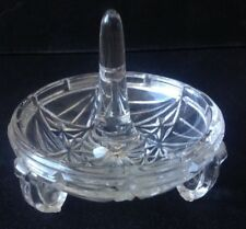 Vintage Glass Ring Tree Dish Holder Art Deco Clear Crystal / Glass