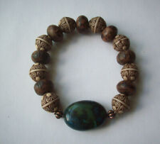 NEW, BUY 2 GET 3RD FREE, YELLOW TURQUOISE, BICONE EMBOSSED & WOOD BRACELET