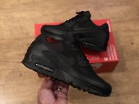NIKE AIR MAX 90 BLACK SCHOOL TRAINERS SHOES UK6 EUR40 US7 NEW