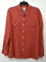 Chicos Womens Semi Sheer Button Front Long Sleeve Flat Collar Cotton Shirt Sz 3