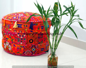 Indian Patchwork Ottoman Pouf Cover 18'' Round Vintage Moroccan Footstool Pouffe