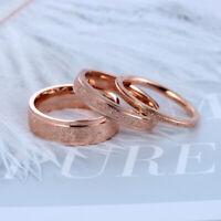 Moda Scrub Anillos de acero inoxidable para mujer Anillo de dedo de oro rosa