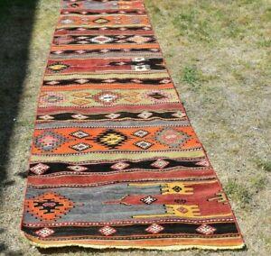 Bohemian Ethnic Kilim Runner Rug Traditional Authentic Handmade Carpet 3x12 ft
