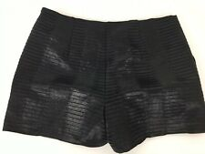 Forever 21 Contemporary Shorts Size Med Black Shinny Side Zip High Rise Ribbed