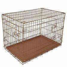 Hound Antique Copper Finish Fold Flat Metal Crate With Tray Large