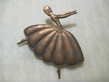 Vintage Ballerina Dancer Brooch Pin; Die Struck Patina Brass, Old Stock