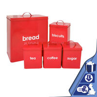 5pc Red Metal Bread Bin Storage Canister Set Coffee Tea Sugar Biscuits Bread