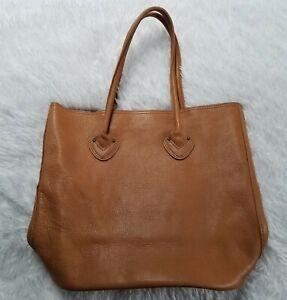 LL Bean Signature Leather Tote Handbag Cognac Camel Brown