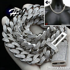 "20""MEN 14K WHITE GOLD FINISH 12MM  BLING MIAMI CUBAN CURB CHAIN NECKLACE*BN4"