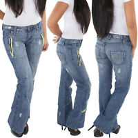 SOTALA Damen Flared Jeans Schlaghose Bootcut Boot-Leg Hüft Hose Hüftjeans Blau