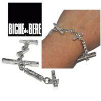 BICHE DE BERE Bracelet moderniste original plaqué argent 19cm bijou