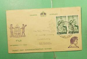 DR WHO 1948 FIJI FDC KGVI SILVER JUBILEE CACHET PAIR NANDI AIRPORT  g14571