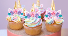 24x Mini Unicorn Gold Horn Pink Lilac Blue Rose Edible Cupcake Cake Toppers #119
