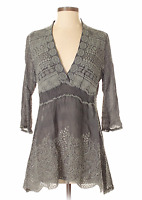 ❤️Johnny Was V NECK SIDE PANEL Embroidered Eyelet Georgette Tunic Blouse $268 S