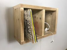 Wall Mounted Vinyl Record Rack Storage Retro Rustic Wood DJ Music Wood Reclaim