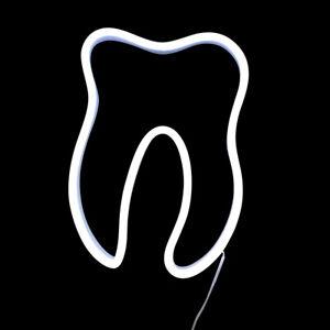 LEUCHTZAHN LED FENSTER-DEKO HÄNGEZAHN weiß Zahnarzt Dental-Labor Zahntechnik TOP
