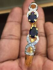 Stunning 4.32 Cts Natural Diamonds Sapphire Cuff Bracelet In Solid 14Carat Gold