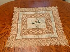"Antique Silk Hand Embroidered Filet Lace Work Floral Tablecloth 32""x29""Delicate"