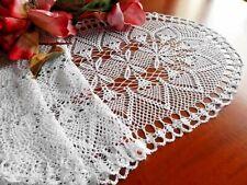 Centro tavola tovaglietta ad uncinetto a mano cotone bianco Crochet lace runner