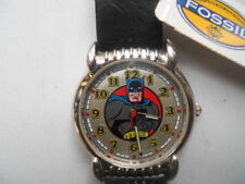 Fossil BATMAN men's black leather,quartz,battery & Analog dress watch.Li-1034