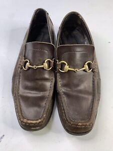 Vintage GUCCI Brown Leather Horse Bit Loafer slip on Men's 10.5 US