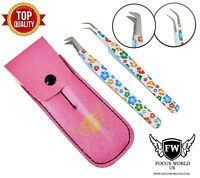 Professional 2PCS Eyebrow Tweezers Hair Beauty Curved Stainless Steel Tweezers