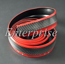 Universal Carbon Fiber Look Bumper Lip Splitter Chin Spoiler Body Red Trim 2.5M