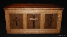 Religious Cedar Lined Oak Hope Chest with Three Walnut Crosses