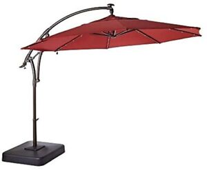 11 ft. Aluminum Cantilever Solar LED Offset Outdoor Patio Umbrella in Chili Red