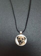 """Border Terrier Pendant On a 18"""" Black Cord Necklace Ideal Birthday Gift N95"""
