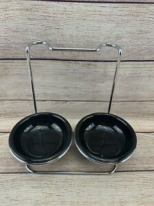 Double Spoon Rest Holder Stainless Steel 2 Round Black Ceramic Bowl Kitchen