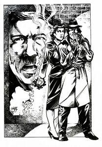 Quinton Hoover Original Black and White Artwork - Detectives