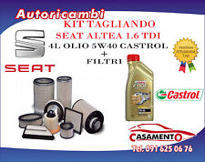 KIT FILTRI TAGLIANDO SEAT ALTEA 1.6 TDI 66/77KW DAL 10/09 + 4L OLIO CASTROL 5W40