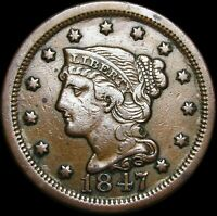 1847 Braided Hair Large Cent Penny ---- Nice Type Coin ---- #H405