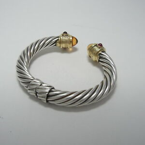 David Yurman 18K & Silver 10mm Cable Classics Bracelet Citrine