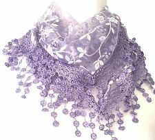 Lace Triangle Scarf Lilac White Vintage Style Scarf Sparkly Purple Tassel Trim