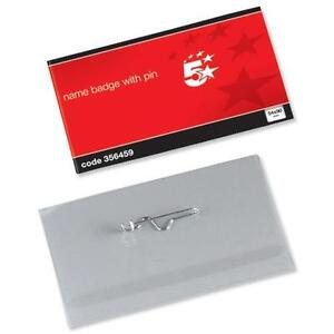 Name Visitor ID Badges Plastic with Pin & Inserts 54 x 90mm - 356459