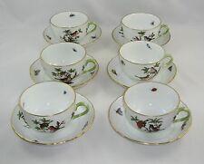 """Set Of 6 Herend Rothschild Bird """"CUPS & SAUCERS"""" 1726/RO"""