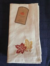Set 4 Napkins Well Dressed Home Embroidered Fall Leaves 100% Cotton India beige