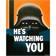 He's Watching Propaganda Poster Art WW1 Ww2 German Soldier War Bond Vinyl Decal