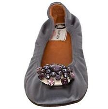 Lanvin Slate Satin Jeweled Embellished Ballerina Ballet Flats Shoes 38 EU $690