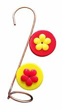 Nectar DOTS Copper Single Hanging Hummingbird Feeder With Red and Yellow Lids