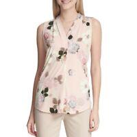 CALVIN KLEIN NEW Women's Floral-print Sleeveless Blouse Shirt Top TEDO