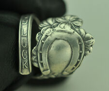 Beautiful 925 Sterling Silver Four Leaf Clover Good Luck Native Spoon Ring